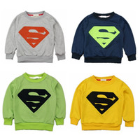 Wholesale Fall new Korean children s clothing big terry cotton towels embroidered long sleeved Superman sweater children pullover A072823