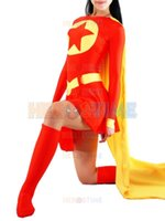 Wholesale Red Yellow Spandex Superhero Costume hot sale halloween cosplay party show costumes for women zentai suit