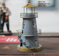 Wholesale Meditteranean Style Lighthouse Iron Candle Holder Candlestick Color Vintage Home Decor Candle Holder