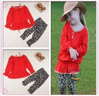 Wholesale Girl Dress Best Suits Child Clothes Kids Clothing Lace Long Sleeve T Shirt Leopard Print Leggings Children Set Girl Suit Outfits C8403
