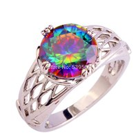 Wholesale Splendide Round Cut Rainbow Mystic Sapphire Silver Women Ring Fashion Jewelry Size