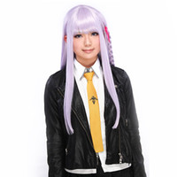 Wholesale Danganronpa Kyoko Kirigiri Long Purple Straight Braid Anime Cosplay Costume Wigs