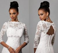bolero jacket wedding dress - 2016 Off Shoulder Alencon Lace Bolero Jacket Illusion Half Sleeve Covered Button Jackets Bridal Shrug Bride Wraps Wedding Dress CPA325