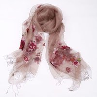 Wholesale chiffon scarf female long scarf shawl dual long scarves embroidered organza embroidered scarves female long section