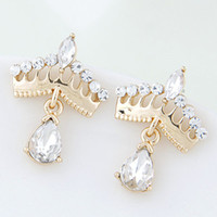 Wholesale 2015 Fashion Korean Gold Crystal Stud Earrings Bijoux Women Earrings Crown boucle d oreille Fashion Jewelry Women Accessories