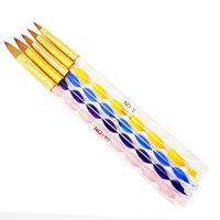 acrylic manufacture - New Fashion Nail Auger Crystal Pen set Nail Art Manufacture Acrylic Pen Brush Kit Dotting Nai Tools