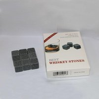 Wholesale FDA set Whiskey stone Whiskey Chilling Stones wine beer stone cubes Scotch Whiskey Glass Ice Rock Coolers velvet bag retail box