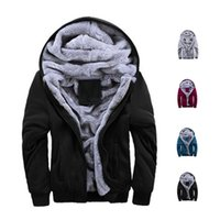 Wholesale S5Q Mens Winter Thicken Warmth Sweatshirts Jackets Thick Velvet Hooded Zip Coats AAAFLY