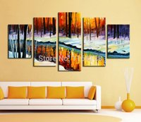 beauty river - 5 panel wall decor modern art set Forest river in cold winter natural beauty hand painted Oil palette knife Painting on Canvas