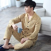 Wholesale Long sleeved cotton pajamas for men In spring and autumn clothing size Home Furnishing spring cotton cardigan youth men s suit