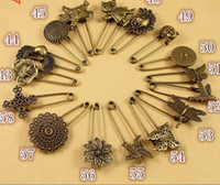 Wholesale High quality of Kinds Bronze Plated Flower Owl Bird Heart Jewelry findings Safety Pin z1580