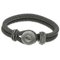 Precio de Trenzas grises oscuros-Moda 1PC Snap Pulsera Botón de cuero verdadero de la cuerda trenzada DIY Gris oscuro 22cm