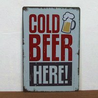 Metal COLOR Iron Cold beer here paiting Tin Sign Bar pub home Wall Decor Retro Metal Art Poster