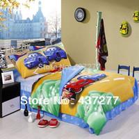 Wholesale Children cartoon car travelling bedding sets cotton twin full size reversible duvet cover flat sheet comforter sets
