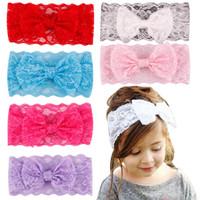 big head children - Childrens Accessories Lace Hair Flower Headbands Big Bow Elastic Headbands for girls Children Vintage Head Wrap Baby Hair Accessories