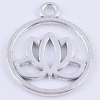 antique jewelry metal flower - 100pcs antique silver metal alloy precious lotus flower fashion jewelry collet fit necklace bracelet keychain bag decoration DIY