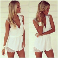Wholesale 2015 New Summer Style Sexy White Lace Jumpsuit Womens Rompers Cute feminino vestidos Combinaison Short Femme Overalls Playsuits