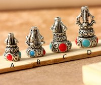 Wholesale mm Tibet inlay silver Three Pagoda DIY beads accessories