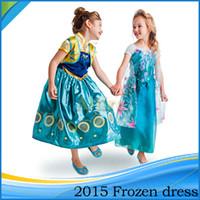 festival clothing - 2015 Froze Children Clothing Girl Elsa Princess Dress Festival Formal Long Dresses Baby Princess Dresses Fit Age Kids Wear