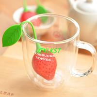 Wholesale NEW Silicone Strawberry Tea Infuser Herbal Tea Infuser Filter Dishwasher Safe