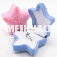 Wholesale 20pcs cm beach star Ring boxes earring boxes necklace box brooch cases bracelet box ladys Flannelette jewelry packaging boxes