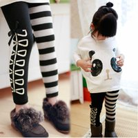 Cheap autumn Kids pants Child trousers Toddlers Girls Classical Black White striped Leggings Cotton Stretch Skinny Pants tights 3-7ages NO387