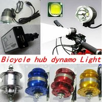 Wholesale NEW U2 T6 Light Bicycle hub dynamo colors V W holes front hub bicycle quick release Headlamp Waterproof Flashlight