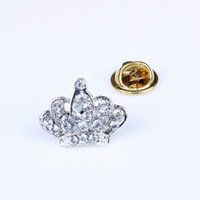 Wholesale Silver Tiara Brooch Current Rhinestone Jewelry Breast Pins For Wedding Party XZ0008