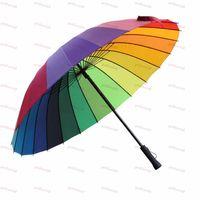 Wholesale Top Quality Fashion Long handle rainbow Straight umbrella rain umbrellas