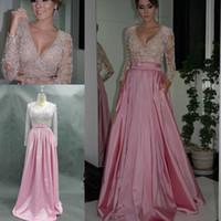 long sleeve pink bridesmaid dresses - Stunning Real Picture Vestidos De Bridesmaids Dresses para madrinhas Beads Nude Pink Satin A Line Long Sleeves Charming Floor length