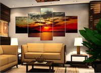 Wholesale Sun Painting Modern Art - 5 Piece Free Shipping Hot Sell Modern Wall Painting Art Picture Home Decorative Paint on Canvas Prints Calm river Bright rays Orange red sun