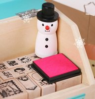 Wholesale 500PCS HHA257 New Hot Cute Wooden Snowman Stamp Snowflake Gift Scrapbooking Card Making Craft DIY Stamps