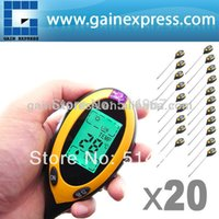 Wholesale 20 pieces x Digital in pH Meter Measures Soil pH Temperature Moisture Sunlight Tester Backlight Probe of