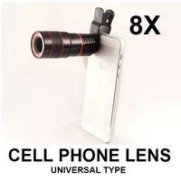 al por mayor zoom de la cámara para el teléfono celular-lente óptica universal, 8X cámara telescópica teléfono celular zoom con el clip para Samsung iPhone iPad Nokia HTC etc envío libre de la lente focal