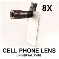 Cheap universal 8X zoom cell phone telescope camera optical lens with clip for Samsung iPhone iPad Nokia HTC etc focal lens free shipping
