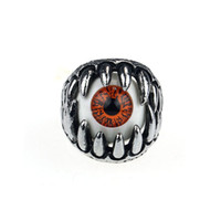 amazing dragons - 2015 New Amazing Coming Stainless Steel Gothic Skull Dragon Claw Evil Eye Biker Men s Ring