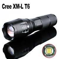 Wholesale DHL E17 Cree LED Flashlight Lumens Waterproof Zoomable Mode XML T6 LED Flashlights Lamp Torch By Rechargeable Battery