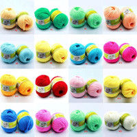 Wholesale 20colors New Promotions Super Natural Silk Smooth Worsted Soft Wool Fiber Knitting Baby Yarn Skein Cashmere Yarn
