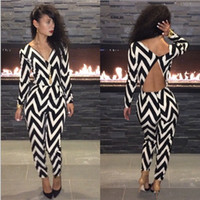 Wholesale Women long sleeve dress V neck black white print Bodycon Club party Fashion Dresses for Women backless Bandage Jumpsuits Rompers