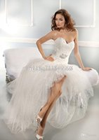 Wholesale Hi Lo Dress Collection Best selling Sweetheart Strapless Detachable Beaded Sash Tulle Lace Wedding Dresses Ivory White Bri