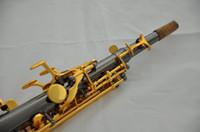 Wholesale TOP Soprano Saxophone Black Gold Nickel Sax High F G Key Necks mouthpiece