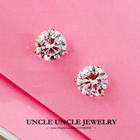 Wholesale Classic Style K White Gold Plated Prongs Sparkly AAA Zirconia mm Lady Stud Earrings Gold Silver