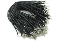 Wholesale MIC cm Leather Braided Charm Chain Necklace rope Love For Bead lobster Clasp Black Colors