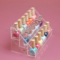 Wholesale 3 Tiers Acrylic Clear Nail Polish Cosmetic Display Case Stand Organizer Make Up Cosmetics Polishs Displays