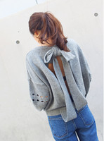 Wholesale cheap winter ladies womens russian cutout bow sweater loose plus size racerback women pullover knitted jumper sweaters pullovers