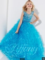 Cheap Holiday Party flower girls pageant dresses 2014 Beads Square Pink beading sequins Wedding SKYBLUE little kids Pleat ball gowns custom made