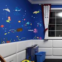 arrange living room - bedroom decoration SeaWorld arranged children s playground in kindergarten children s room decoration background removable wall stickers DF5