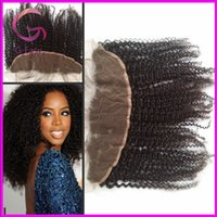 Cheap 8A Brazilian Virgin Human Lace Frontal Kinky Curly 13x4 Lace Natural Color Can be dyed and bleached Human Hair Lace Frontal