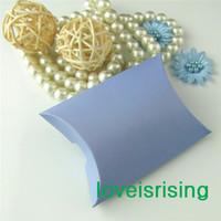 Wholesale Hot Sale Pieces x7 x2 cm Sky Blue Color Pillow Favor Box Gift Box For Baby Shower Wedding Favors Boxes Decoration