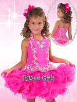 Cheap Lovely Short Little Babies Pageant Dress High Neck Beads Crystal Organza Ball Gown Princess Party Cupcake Dresses For Little Girls